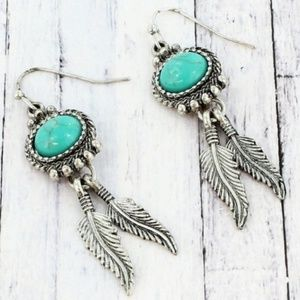 Silvertone Western Dangling Feather Earrings